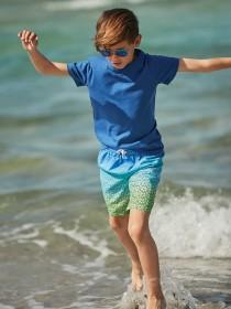 Older Boys Blue and Green Geometric Boardshorts