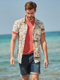 Mens Blue Hawaiian Print Shirt