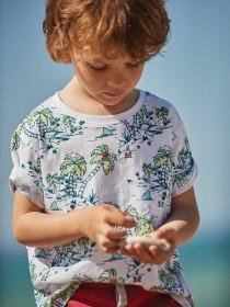 Younger Boys 3pk Blue Beach T-Shirts