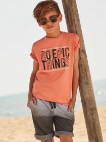 Older Boys Coral Slogan T-Shirt