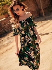 Womens Tropical Bardot Dress