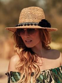 Womens Tan Pom Panama Hat