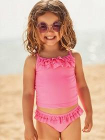 Younger Girls Pink Laser Cut Tankini