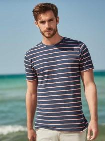 Mens Navy Stripe T-Shirt
