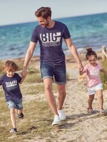 Younger Boys Navy Little Trouble Slogan T-Shirt