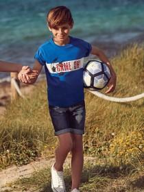 Older Boys Blue Game On Slogan T-Shirt