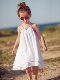 Younger Girls White Embroidered Dress