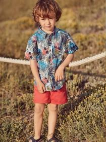Younger Boys Blue Palm Shirt and Short Set