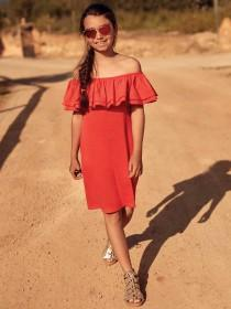 Older Girls Orange Ruffle Bardot Dress