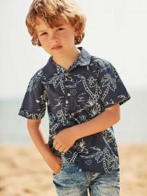 Younger Boys Blue Palm Shirt