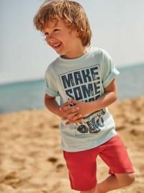 Younger Boys Light Blue Slogan T-Shirt