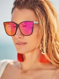 Womens Black Oversized Cat Eye Sunglasses