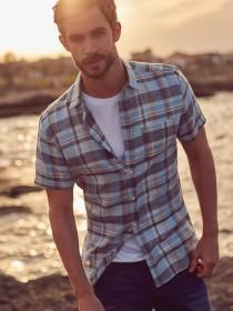 Mens Blue Check Short Sleeve Shirt