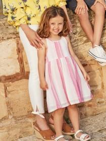 Younger Girls Pink Stripe Dress