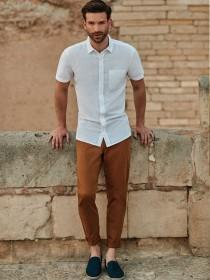 Mens White Short Sleeve Linen Shirt