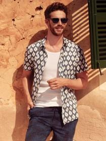 Mens Aztec Print Short Sleeve Shirt