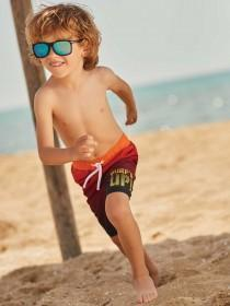 Younger Boys Red Dip Dye Boardshorts