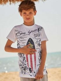 Older Boys White Flip Sequin Surf T-Shirt