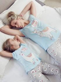 Womens Blue Llama Pyjama Set
