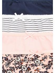 Women's 4PK Pale Pink Printed High Cut Briefs