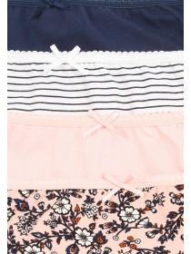 Womens 4pk Pale Pink Printed High Cut Briefs