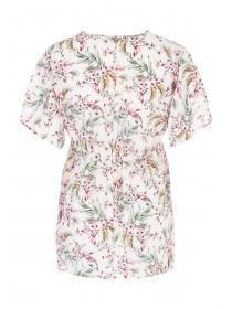 Womens White Floral Maternity Wrap Top