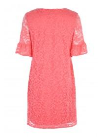 Womens Coral Flute Sleeve Lace Dress