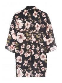 Womens Black Floral Crepe Kimono