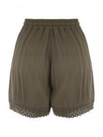 Womens Khaki Crochet Detail Short