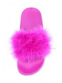 Womens Pink Feather Sliders