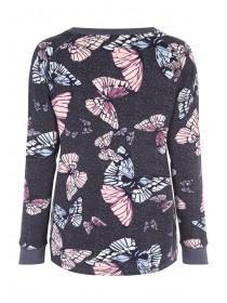 Womens Charcoal Printed Long Sleeved Soft Touch Top