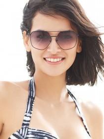 Women Black Angular Aviator Sunglasses