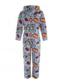 Mens Grey Comic Print Onesie