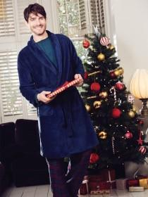 Mens Dark Blue Dressing Gown
