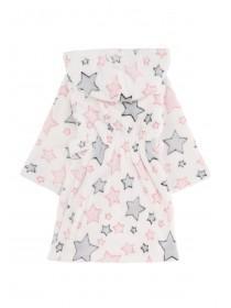 Girls White Star Dressing Gown