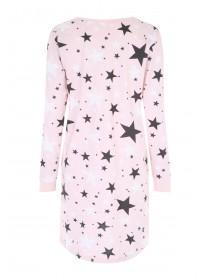 Womens Pink Star Long Sleeve Nightdress