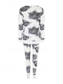 Womens Cream Floral Long Sleeve Pyjamas