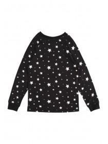 Girls Soft Touch Black Pyjama Top