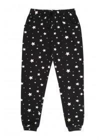 Girls Soft Touch Black Pyjama Bottoms