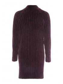 Womens Purple Chenille Cardigan