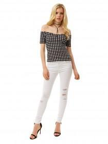 Jane Norman Monochrome Gingham Bardot Top