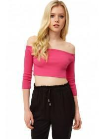Jane Norman Hot Pink Rib Crop Top