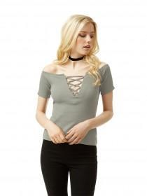 Jane Norman Khaki Lace Up Bardot Top