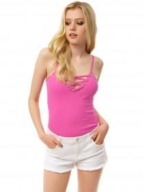 Jane Norman Hot Pink Lace Up Strappy Vest