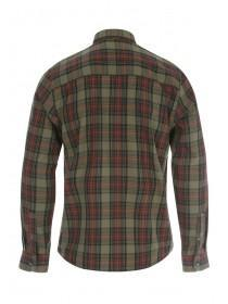 Mens Khaki Long Sleeve Check Shirt