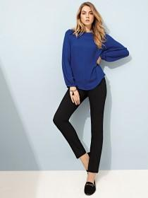 Womens Blue Ruffle Shoulder Top