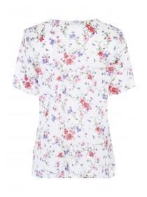 Womens Cream Floral Ruffle Top