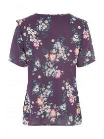Womens Purple Floral Print Top