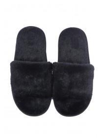 Womens Black Fluffy Slider Slippers