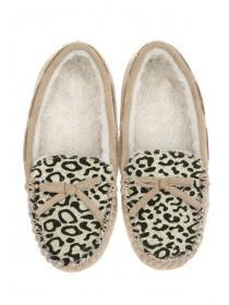 Womens Tan Leopard Print Slippers